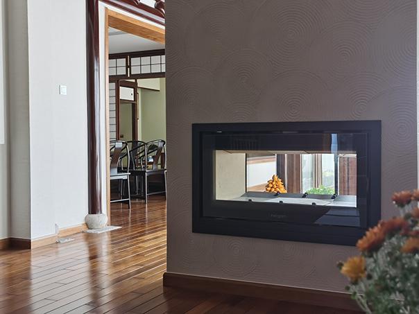 嵌入式燃木壁炉两面关火