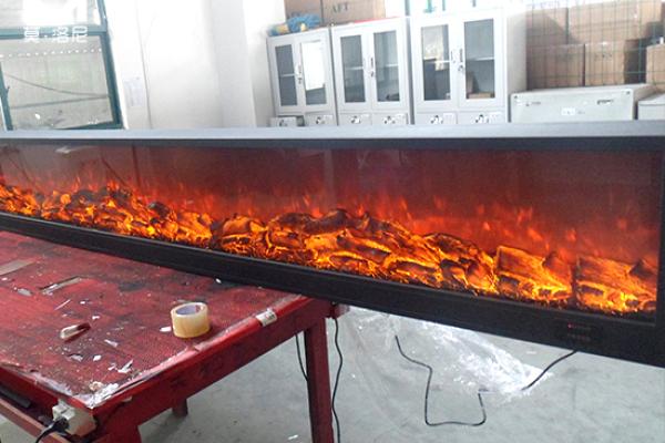 【上饶】沐鑫城市酒店安装我司4米长壁炉芯